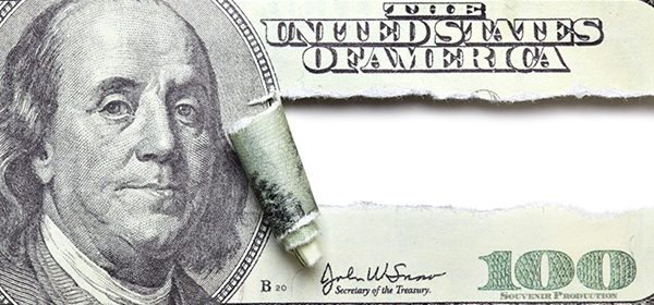 Torn dollar banknote with space for your own text