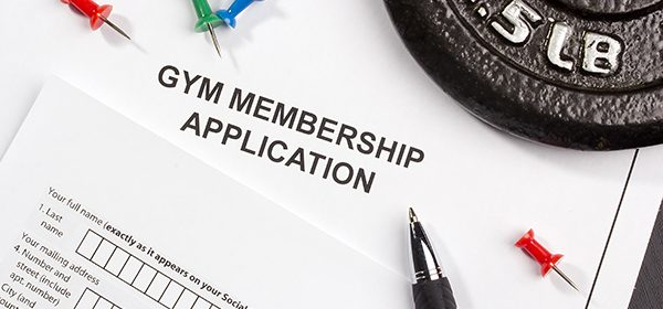 Directly above photograph of a gym membership application.